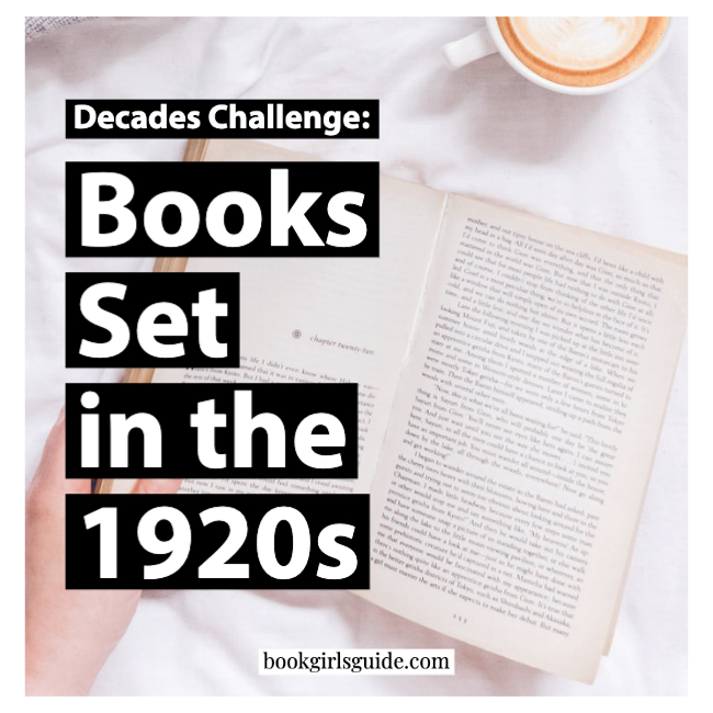 Reading a book on white bed, text on image: Books Set in the 1920s