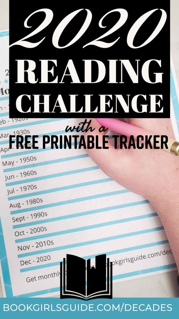 2020 Reading Challenge with Free Printable Tracker - Words over image of printed book tracker
