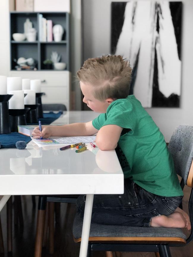 Kid coloring book bingo card