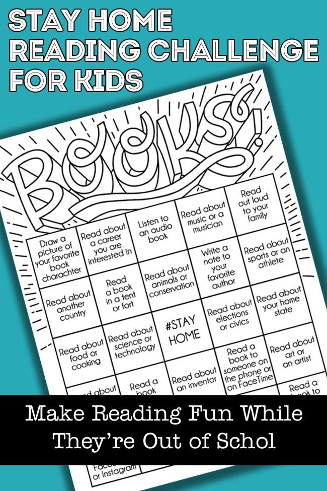 Stay Home Reading Challenge Book Bingo Card