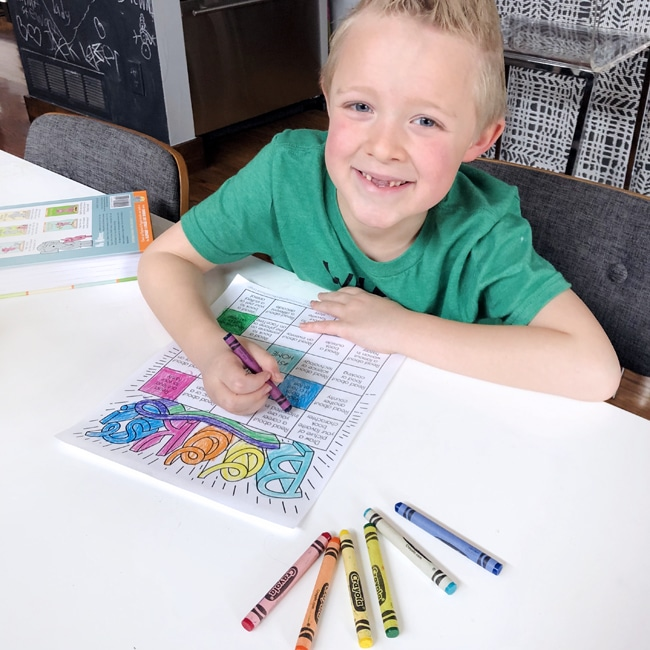 Kid Coloring Stay Home Book Bingo Card for Reading Challenge