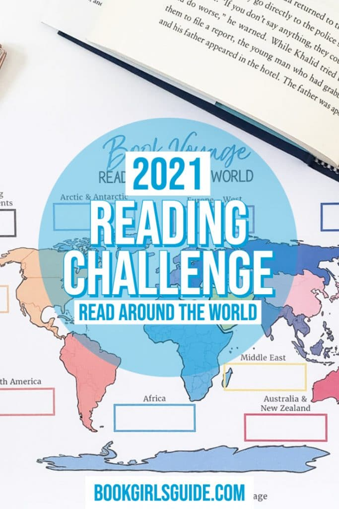 2021 Reading Challenge (Text above world map)