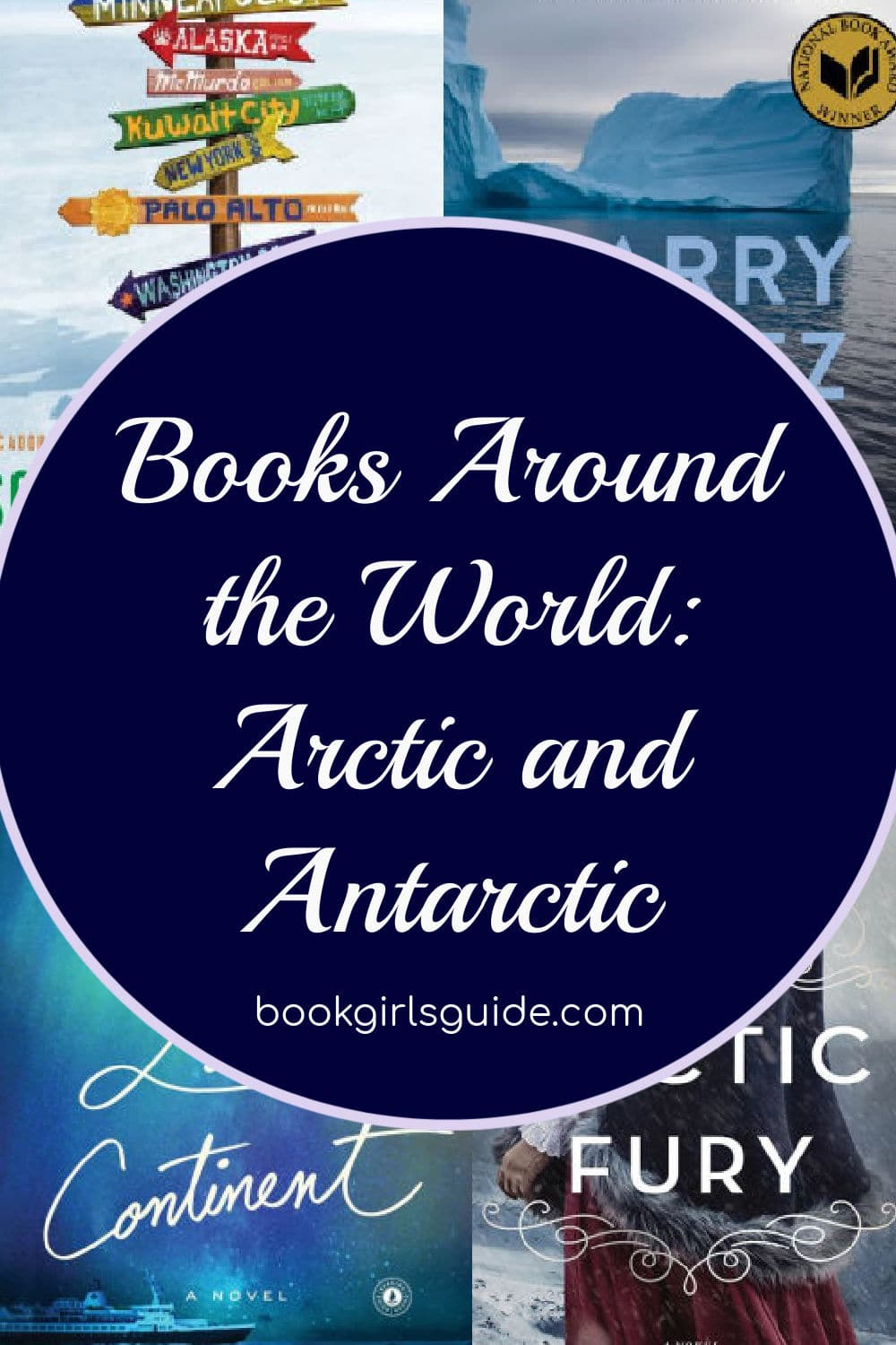 Text over book covers - Books Around the World: Arctic & Antarctica