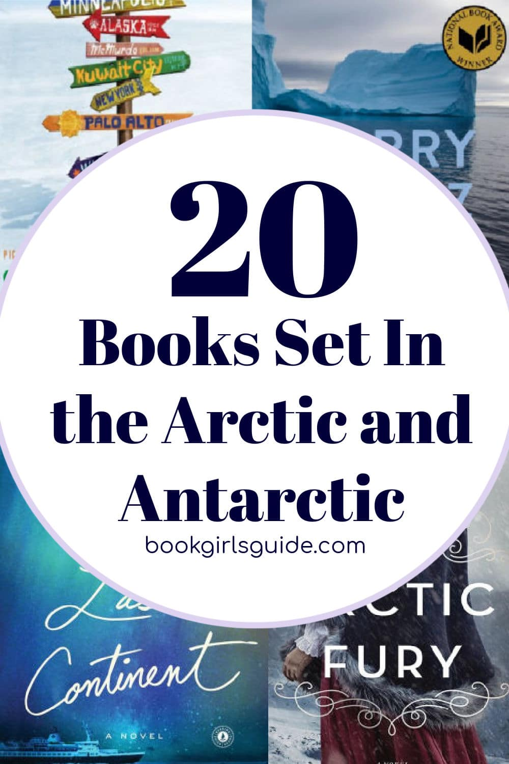 Text over book covers - 20 Books Set in the arctic and Antarctic
