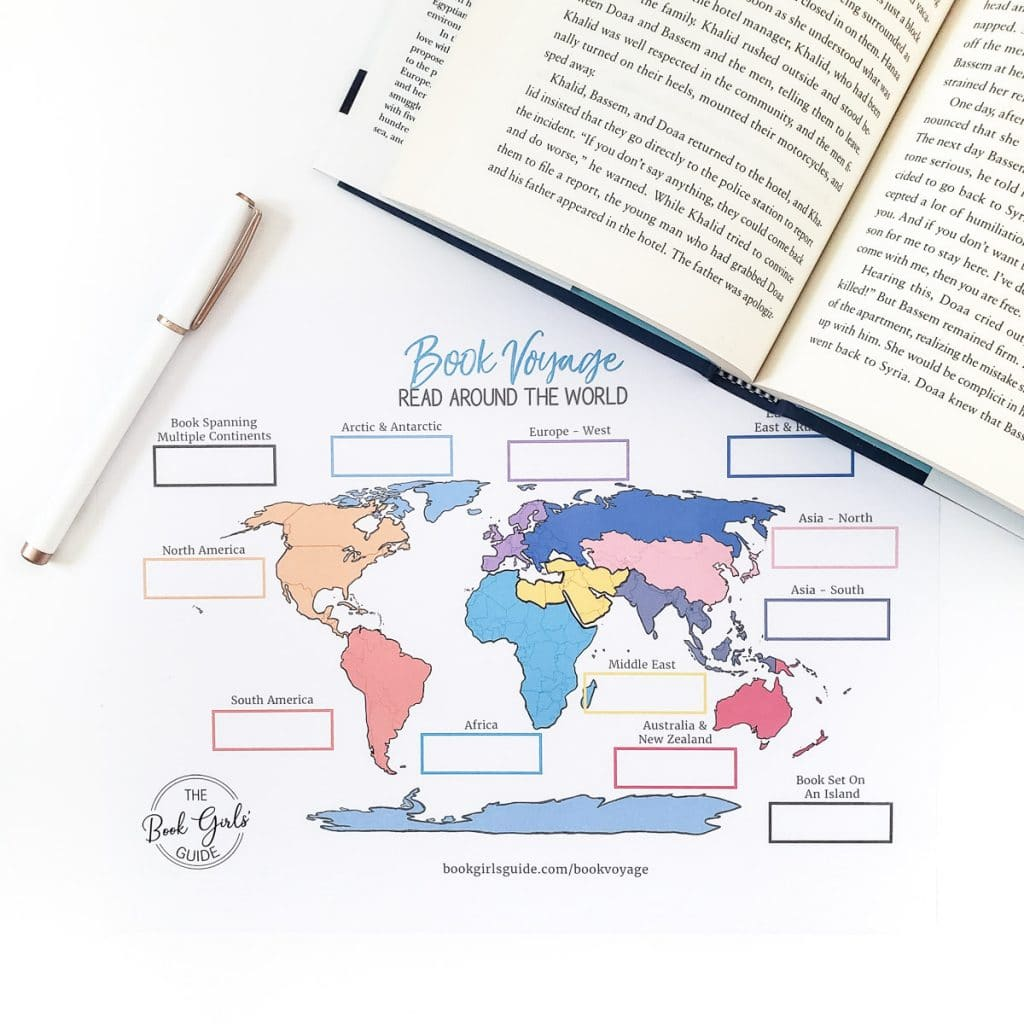 Colorful world map -book voyage reading challenge tracker