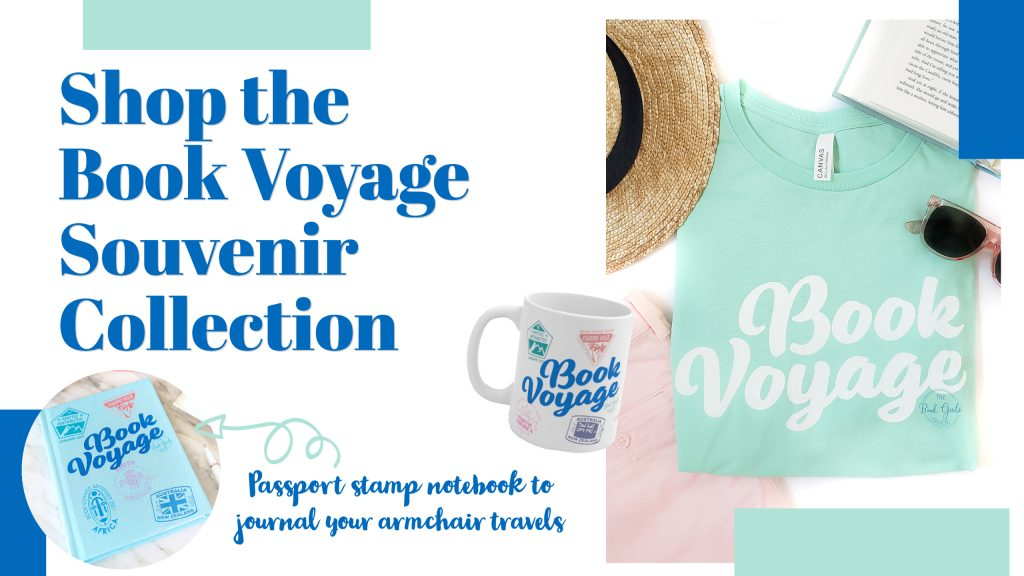 """Image with text """"Shop The Book Voyage Souvenir Collection"""" and photos of a t-shirt, mug, and reading journal, each with the phrase """"Book Voyage"""" and passport stamps for each region in the Book Voyage reading challenge"""