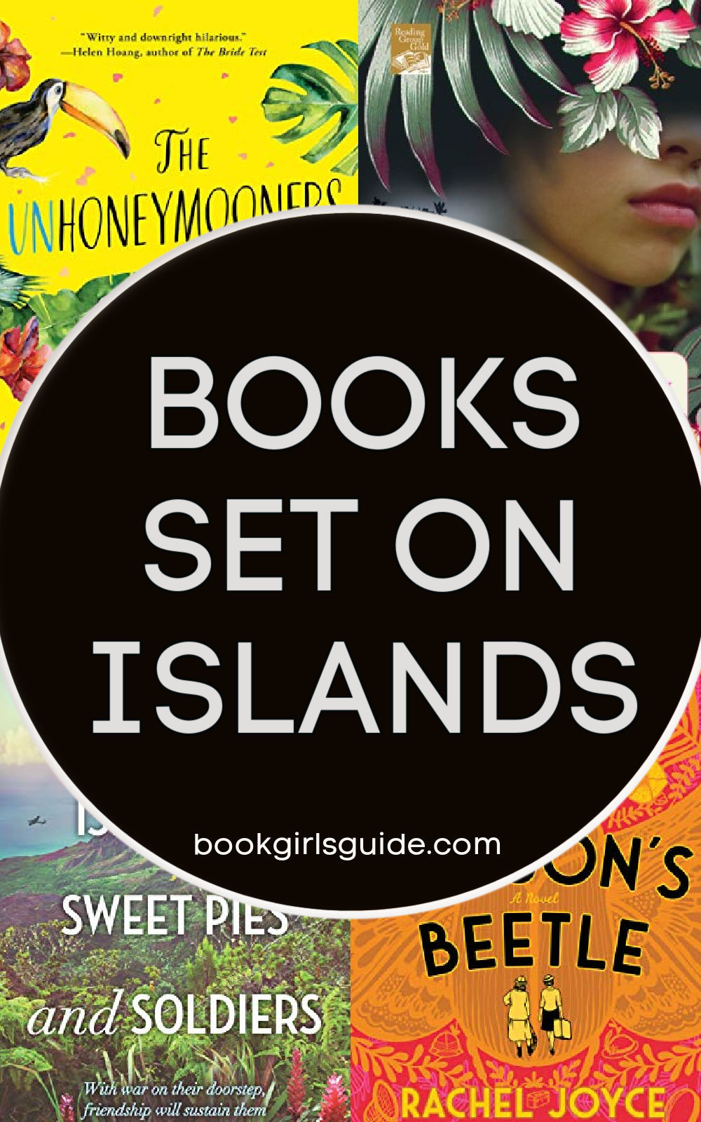 text that reads 24 Books Set on Islands with covers of four books
