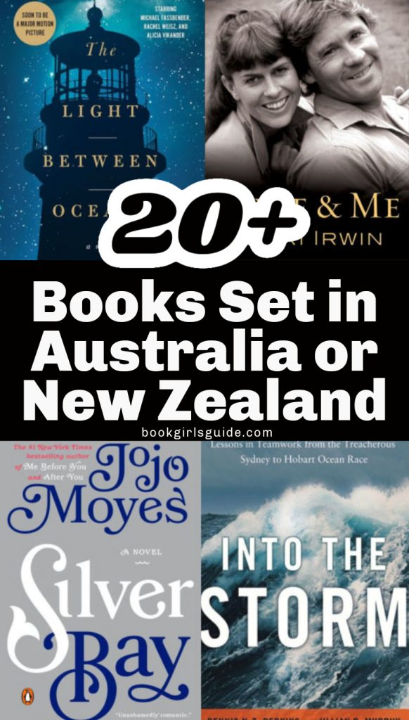 Books set in Australia or New Zealand- text with covers of Light Between the Ocean, Steve & Me, Silver Bay, and Into the Storm