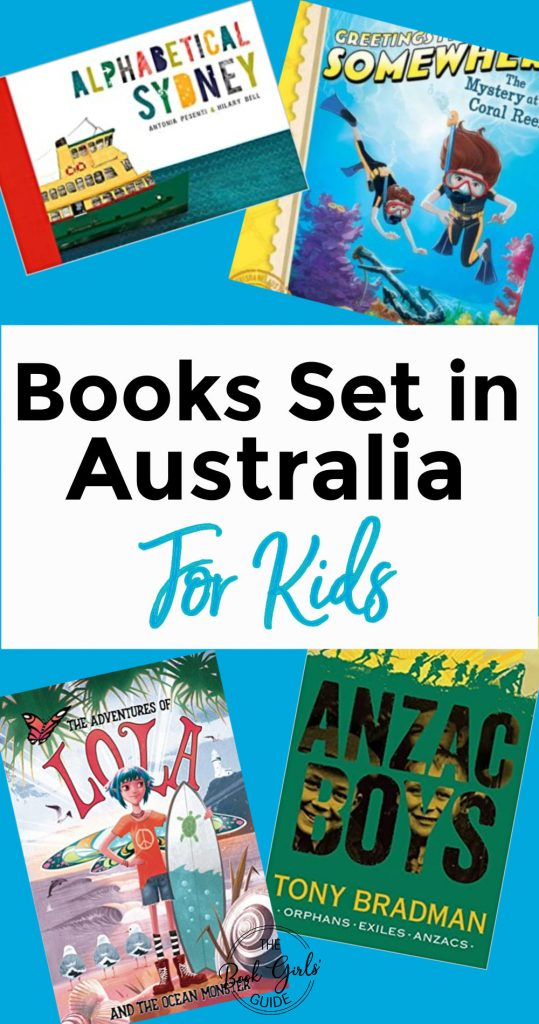 Kids Books Set in Austalia (Text over images of four books)